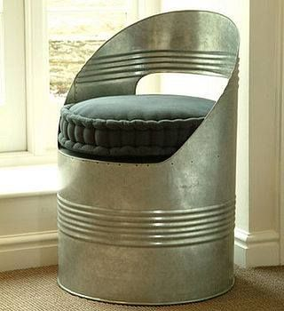 """industrial drum chair upcycling also a neat idea for a corner piece for hubby's """"man-cave"""""""