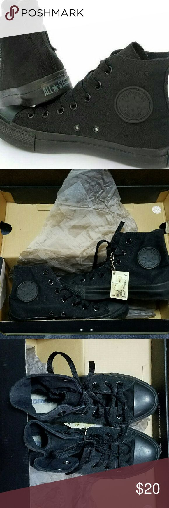 Converse Chuck Taylor All Stars black high tops ?       Great Condition!  ?       Color: Black  ?       Size: Men?s 3.5/Women's 5.5  ?       High tops lace up  ?       Comes with box   ?       No longer sold anywhere ? Retail price $45.00 Now on SALE! Converse Shoes Sneakers