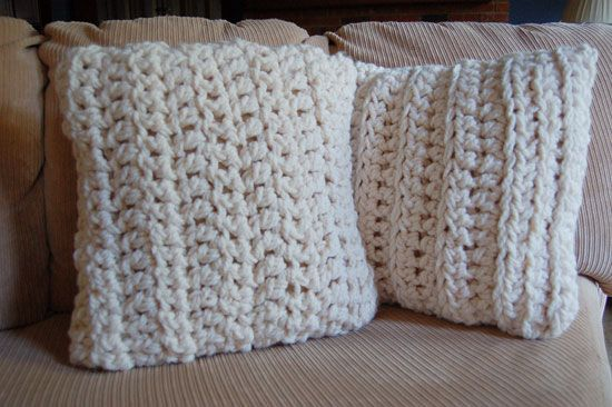 Super chunky crocheted pillow covers - backed with a fleece envelope - two strands of chunky yarn and an S hook