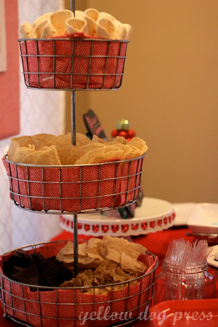 Taco Bar Party. I love the idea of using the tiered basket for shells and chips!