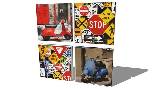Street scooters, quatre toiles , Maisons du monde,116.147, prix :59€ - 3D Warehouse