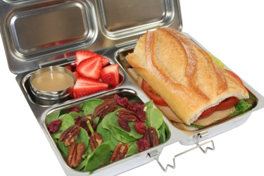 """Planet Box"" lunch box. These are SO COOL. VERY expensive...but so cool...Stainless steel so you can wash it in the dishwasher. My friend has one for her daughter and loves it. Also keeps food fresh and from being squished."