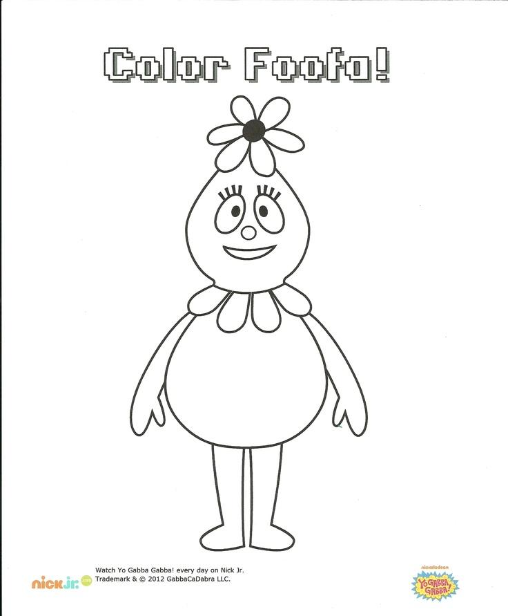 foofa coloring page yo gabba