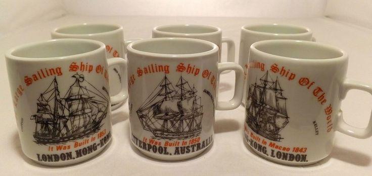 6 x Herrandiz Porcelain Demitasse Coffee Cups ~ Large Ships Of The World #Herrandiz