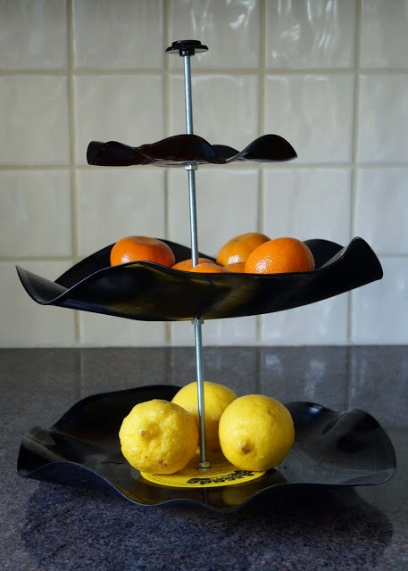Make this stylish 3-tier stand from vinyl records with this tutorial by Someday Crafts.