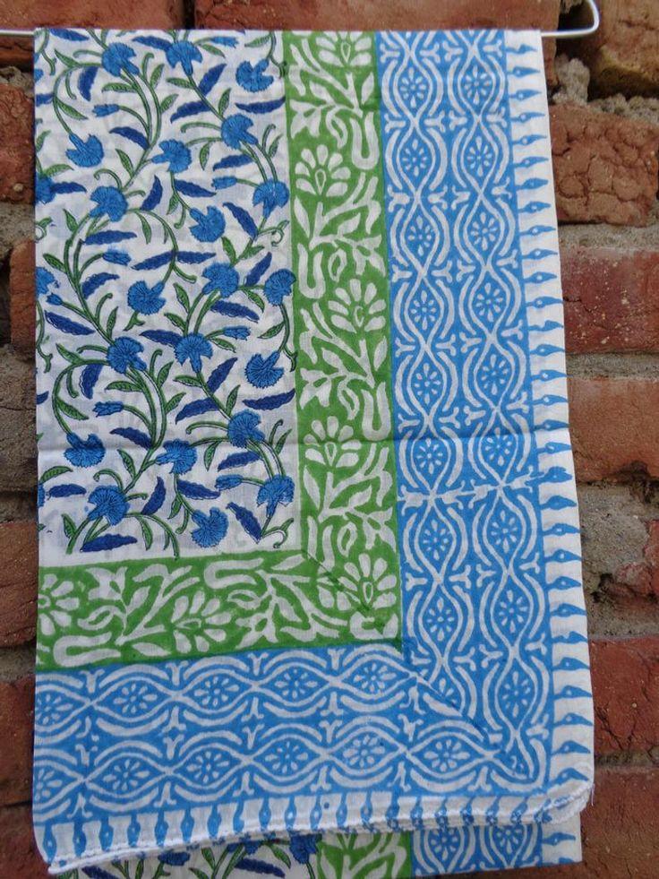 flower hand Block Print blue with white cotton scarves/Cotton Sarong size 110 x 180cm