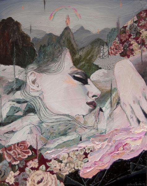 Amorphous Landscape II: Oil + pencils / wood //Alexandra Levasseur
