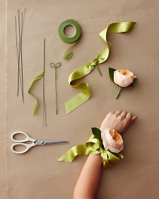 DIY a wrist corsage for the mother of the bride or groom that has a modern twist by using one big, elegant bloom and a ribbon instead of an elastic band.