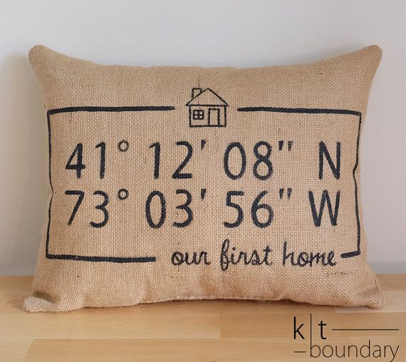 Personalized Map Coordinates Burlap Pillow  First by ktboundary24 ---> not this room but for our first home!