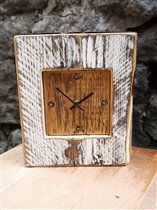 White Mantle clock from Designate Products - Beach Inspired, distressed paint, reclaimed pine, drift wood, clocks, rustic