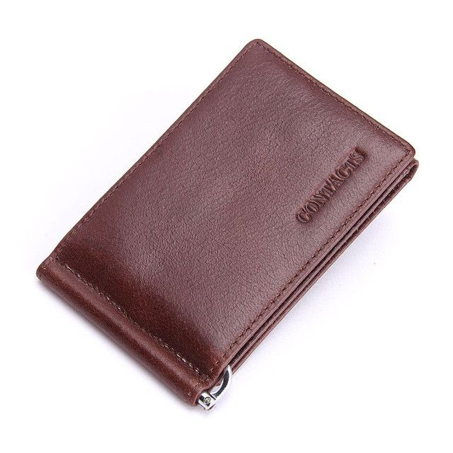Fashion New Genuine Leather Men Money Clips Black Brown Trifold Open Clamp For Money With Card Holder Money Bag