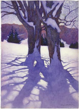 George Hawley Hallowell, Trees in Winter Snow Shadows, about 1910.