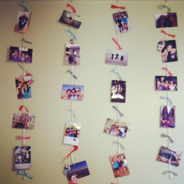 Hanging photo wall using rick rack and scraps of fabirc: Photo Walls, Photos Wall, Rick Rack, Hanging Photos