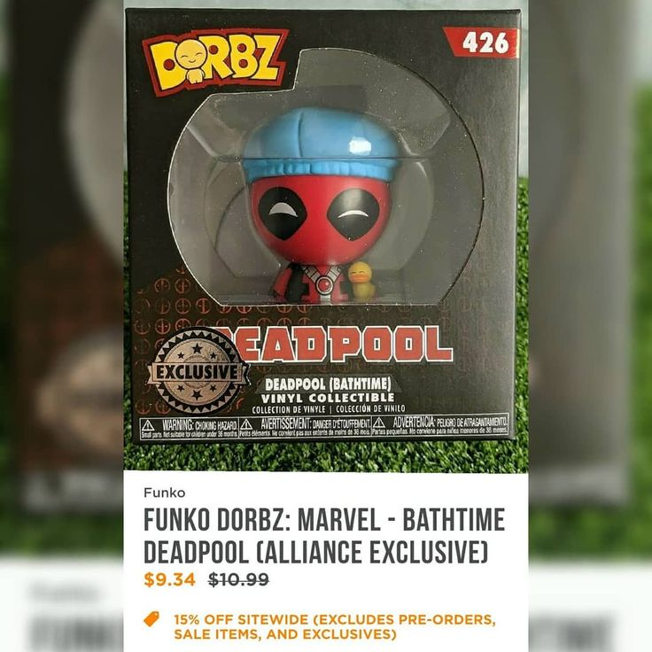 Looks like Deadpool (Bathtime) Dorbz will be an Alliance Exclusive. A placeholder has been found on FYE website. Not live. No date of when it will come out. Credit for Deadpool pic: @var1ant.sg  Thanks for the link @marvelpopfunkollector . https://www.fye.com/funko-dorbz--marvel---bathtime-deadpool-alliance-exclusive-aec.fuko26699.html . #funko #funkopop #funkopops #funkocollector #funkocollection #funkopopcollector #funkopopcollection #funkomaniac #toycollector #vinylfigures #funkomania…