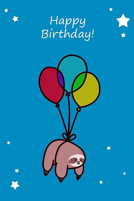 Happy Birthday Balloon Sloth Greeting Card By Saradaboru