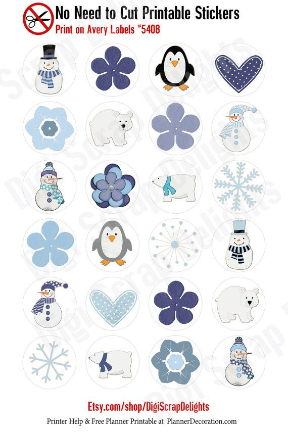 Winter Printable Planner Stickers Print On by DigiScrapDelights