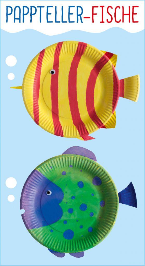 Farbenfrohe Fische aus Papptellern: Ihr habt vom letzten Geburtstag noch Pappteller übrig? Perfekt, denn daraus lassen sich kinderleicht prächtige Pappteller-Fische basteln! #Bastelanleitung auf #arskreativ #DIY