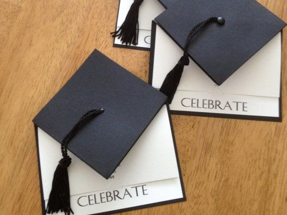Handmade, graduation cap styled invitation - complete with tassel. Sure to make an impression as they are ADORABLE!! The mortarboard section of