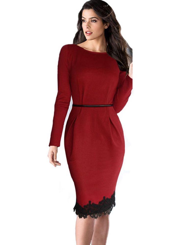 Women Lace Luxury Office Business Dress