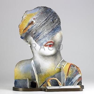 "JINDRA VIKOVA: Glazed porcelain sculpture on bronze base, ""There is a one imagination going back,"" 1987: Signed Vikova 87: 21 3/4"" x 18 1/2"" x 9 1/2"" - Price Estimate: $1500 - $2000"