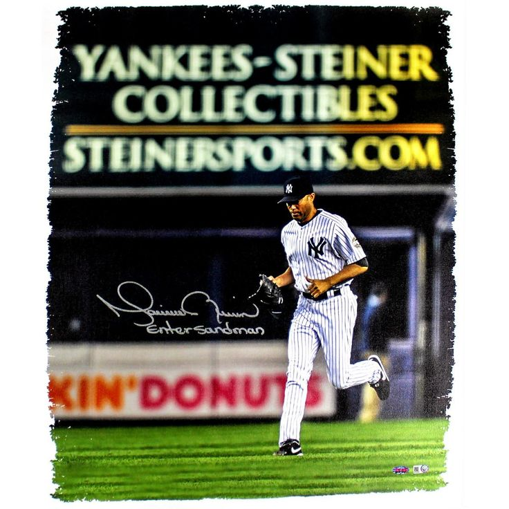 Mariano Rivera Signed Entering the Game Yankee-Steiner Collectibles Ad in the back ground 20x24 Canvas w Enter Sandman Insc. (ML
