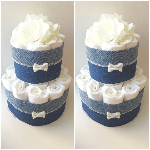 Denim Baby Shower Diaper Cake Centerpiece. by BabycakingBoutique