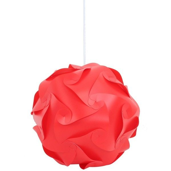 Ball Shape Red IQ Light in Large Size (15 CAD) ❤ liked on Polyvore featuring home, lighting, ceiling lights, round light, red light, flower stems, red pendant lighting and flower pendant light