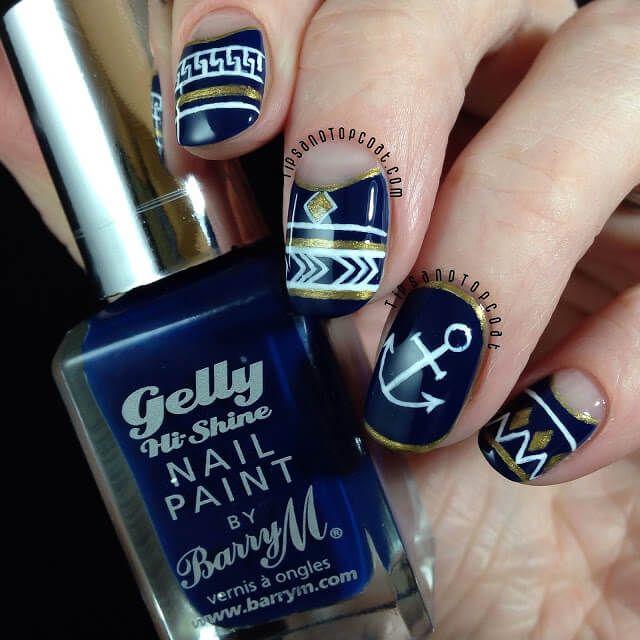 Uñas Nauticas, mas de 40 ejemplos – Nautical Nails | Decoración de Uñas - Nail Art - Uñas decoradas