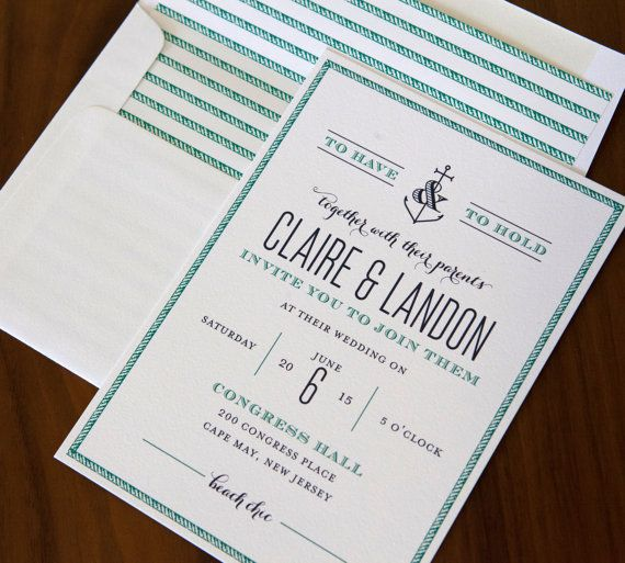 """""""You're My Anchor"""" letterpress wedding invitation from Abbey Malcolm Press. Customize yours with Paper Passionista."""