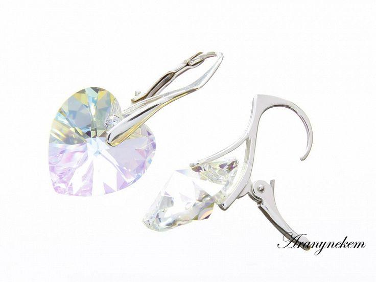Irizáló szív Swarovski kristályos francia kapcsos ezüst fülbevaló