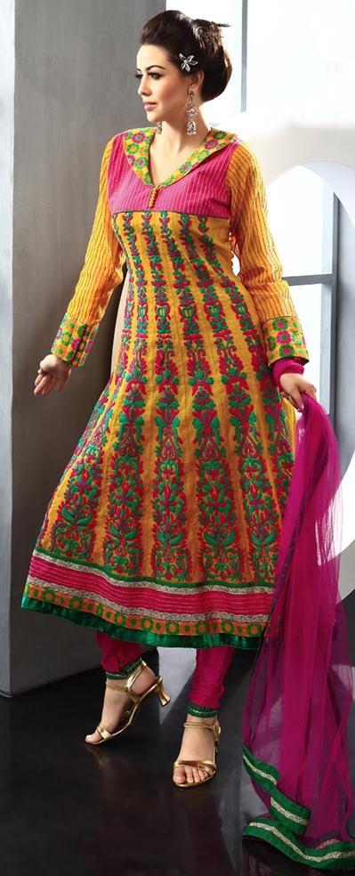 $196.36 Yellow Cotton Thread Work Anarkali Salwar Kameez 22962