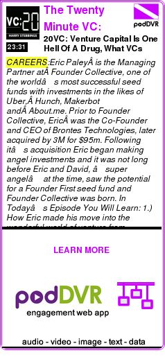 #CAREERS #PODCAST      20VC: Venture Capital Is One Hell Of A Drug, What VCs Expect From Founders Once They Have Raised & Why Customers Validate Your Business Not Venture Capital with Eric Pale    READ:  https://podDVR.COM/?c=411f773d-5498-bf2a-aba4-18f192253c5f