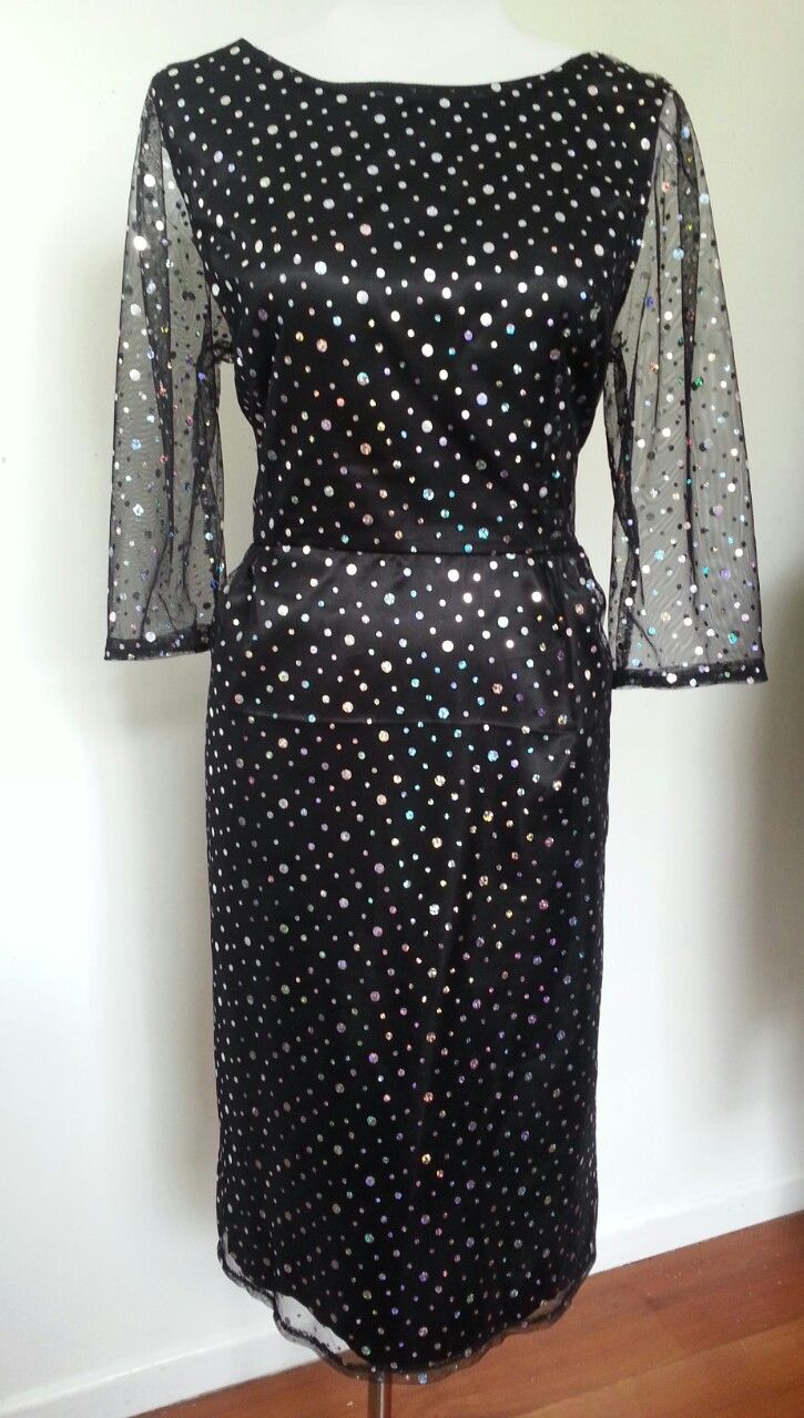 1969's inspired sequin cocktail dress. With mesh sleeves. By Gaylene Allam