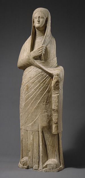 Statue of a woman, 1st century b.c.  Cypriot; said to be from the ruins of Golgoi  Limestone