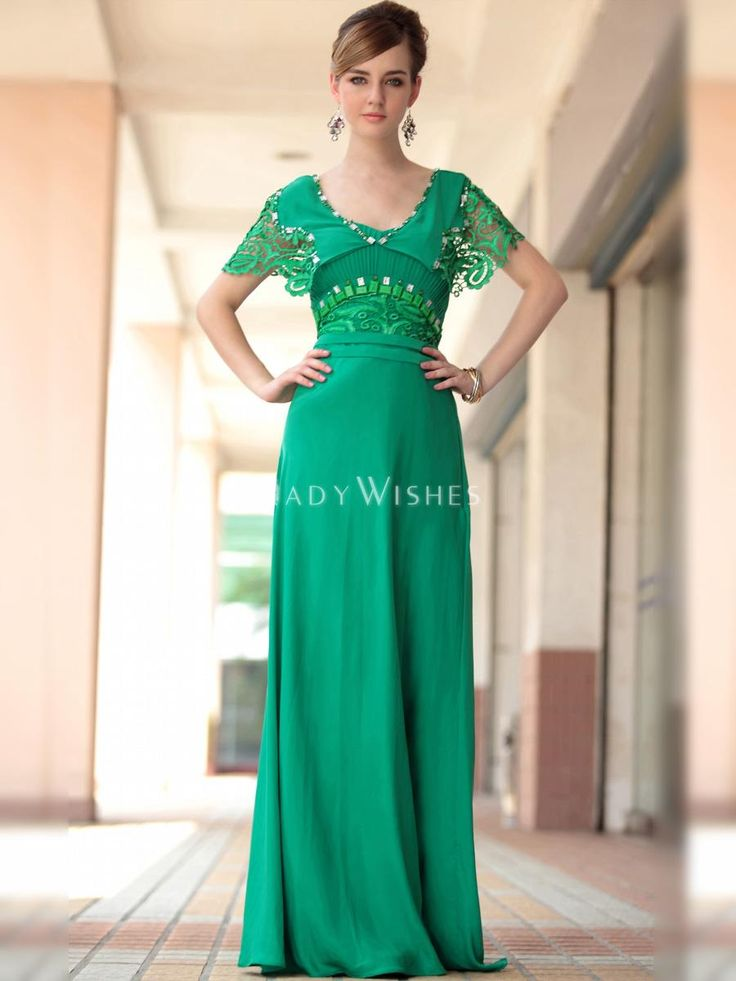 beaded sheath wedding dress long sleeve | Vintage Formal Dress Green Long Empire Waist Sheath with Jacket and ...