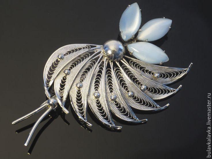 Купить Серебряная винтажная брошь Stanco Sterling - винтажное украшение, серебряная брошь, филигранная брошь