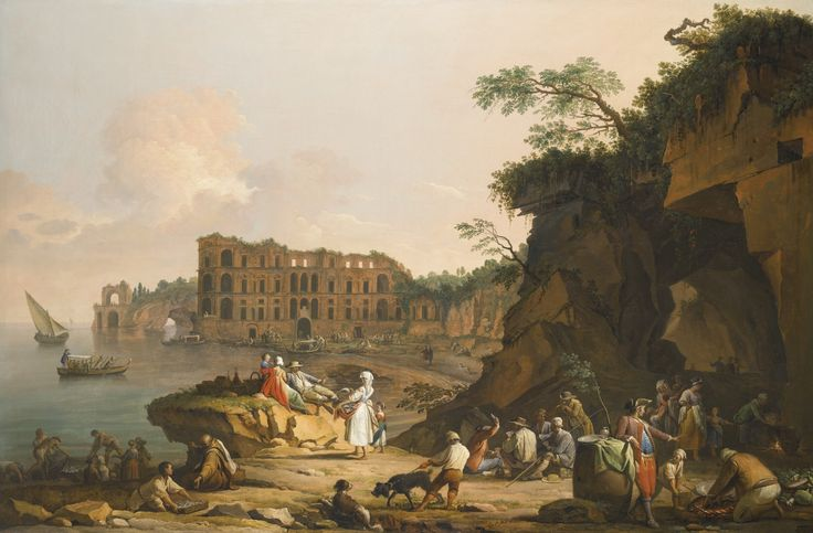 Pietro Fabris. DOCUMENTED IN NAPLES 1756 - 1804. NAPLES, A VIEW OF MERGELLINA AND THE PALAZZO DONN'ANNA BEYOND, WITH FISHERMEN DRAWING THEIR CATCH, PEASANTS GRILLING FISH AND OTHER FIGURES CONVERSING, 1777.