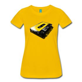 show your love for tapes with this original vintage grey transparent audio cassette with prominent yellow label. wear it proud.