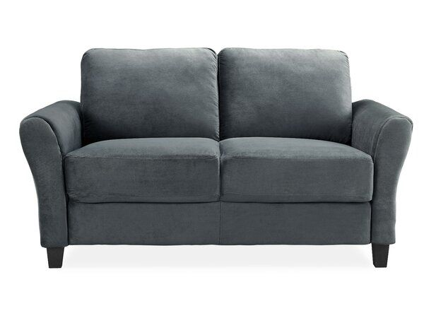 Celestia Microfiber Microsuede 56 3 Flared Arms Loveseat Couch And Loveseat Dark Grey Couches Love Seat