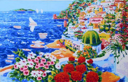 Athos Faccincani - Racconto di primavera per una splendida Positano ( serigrafia a 36 passaggi di colore )