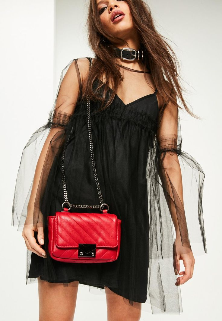 Missguided - Red Faux Leather Quilted Cross Body Bag