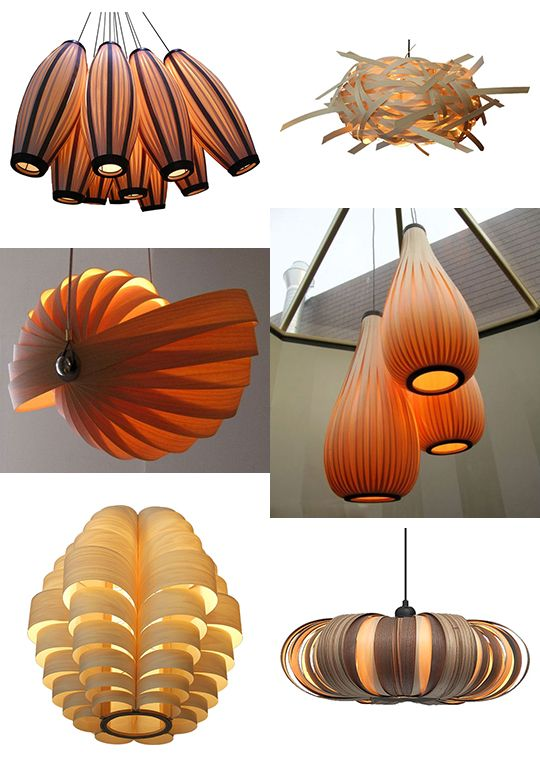 Wood veneer light fixtures. Beautiful!