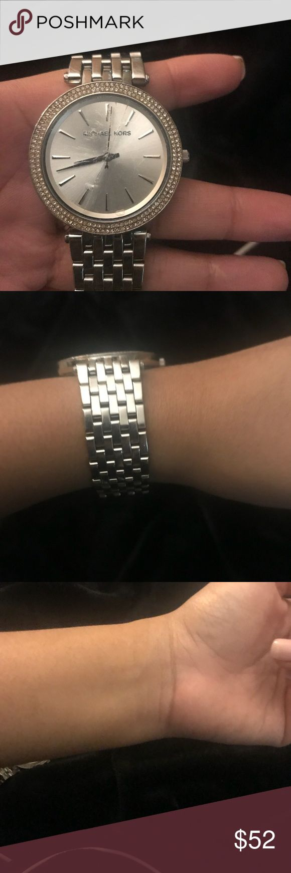 MK WATCH ! Cracked screen. **** MK watch silver / cracked screen as seen in pictures. Size: Petite wrist /Comes with box. Screen repair runs from $10-30dollars. Michael Kors Accessories Watches