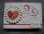 Love and Heart Rosette Valentine Card - Embossed