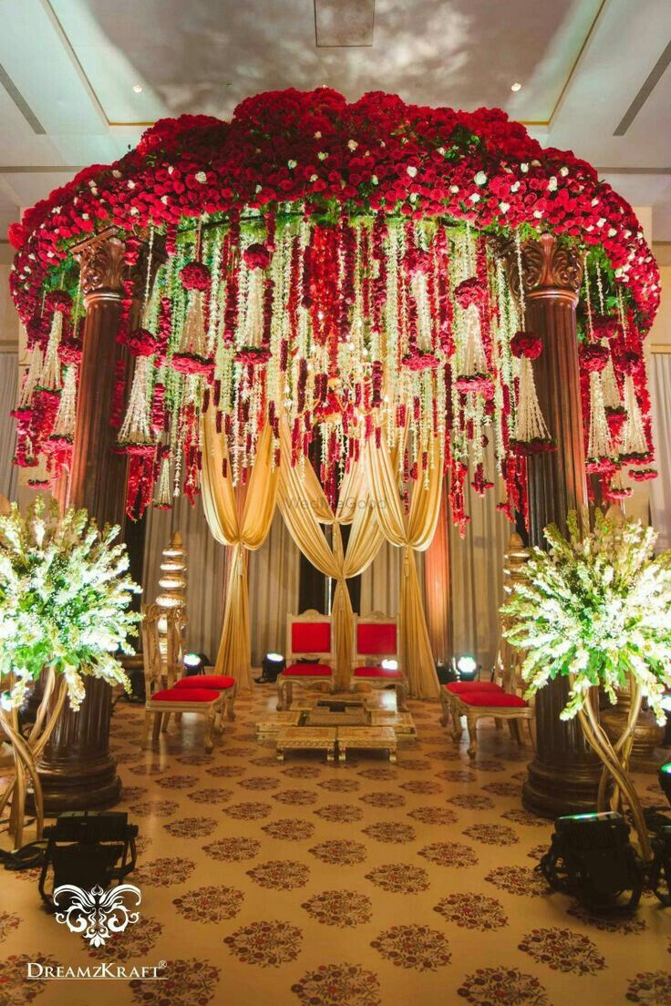 195 best indian wedding decor images on pinterest looking for floral mandap idea with red and gold decor and hanging strings browse of latest bridal photos lehenga jewelry designs decor ideas junglespirit Choice Image