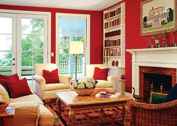 Interior How to Affects Your Mood using Room Color: Awesome Red Living Room Colors With White Couch Cushion Wooden Coffee Table Fireplace Floor Lamp Laminated Flooring Synthetic Carpet