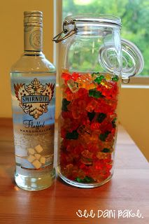 Vodka Gummy Bears ----I tried it with regular vodka not so good! But the fluffed vodka is extra sweet! So it's a good mix