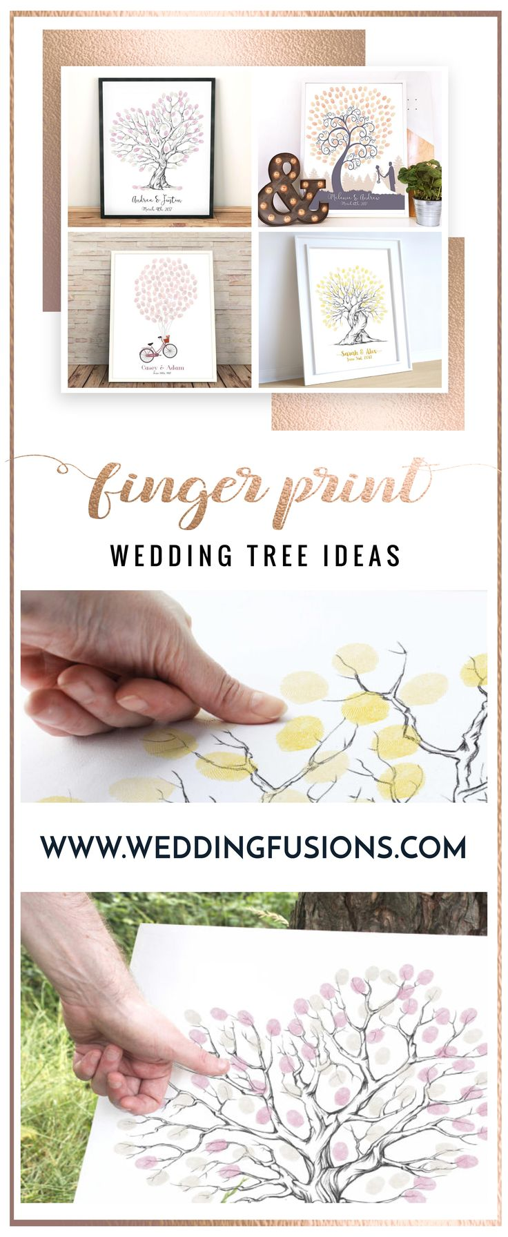Wedding Tree / Fingerprint Tree ideas - the perfect alternative to a traditional wedding guest book.