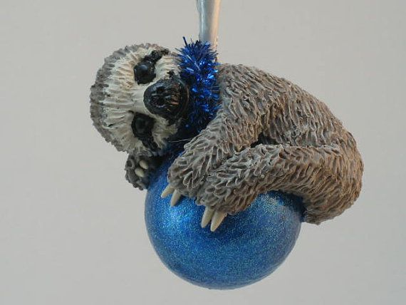 Christmas Sloth Ornament Original WhimzyGrimzy by WhimzyGrimzy