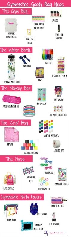 Gymnastics HQ// Gymnastics Goody Bag Ideas: Gymnastics Party Favor ideas for young and older gymnasts